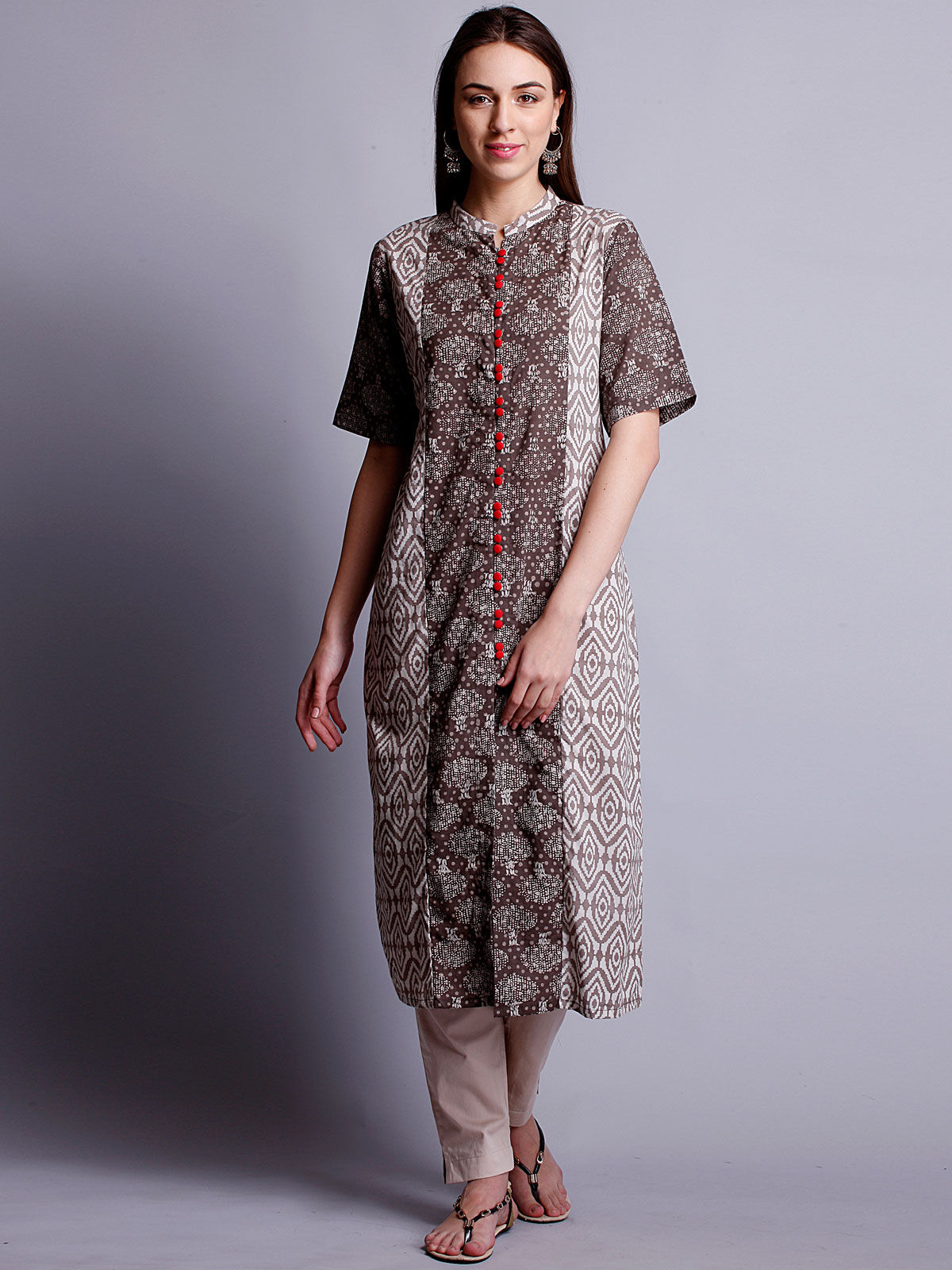 3/4th sleeves beige color long kurta