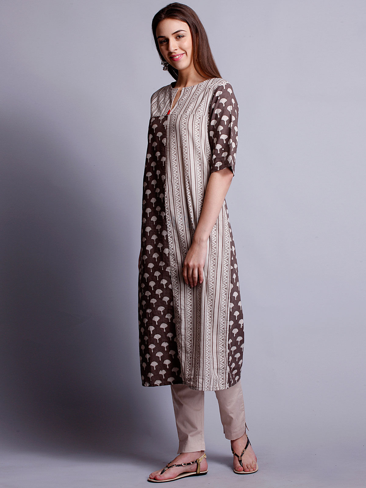 Beige color long kurta with 3/4 th sleeves