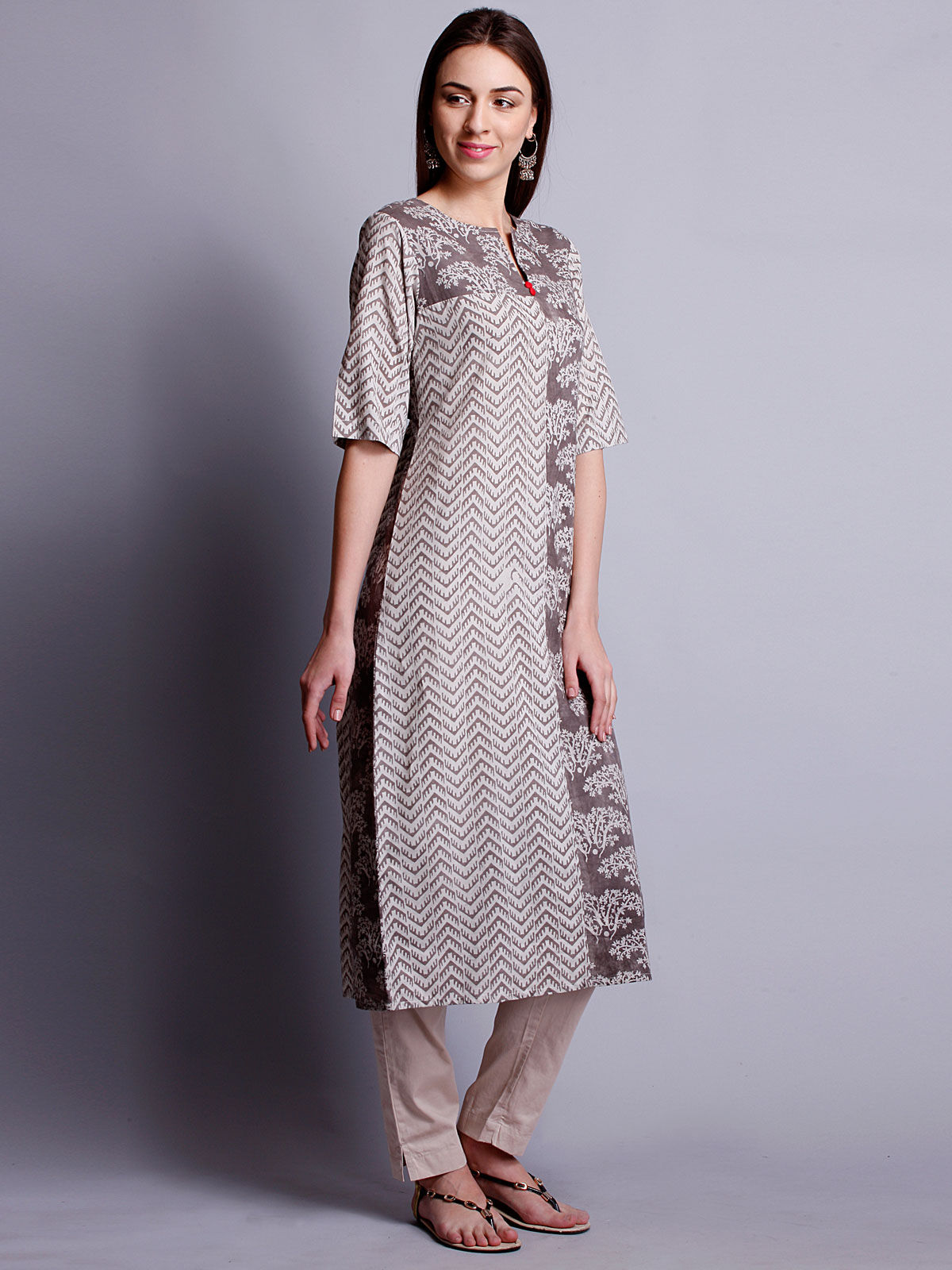 Block print kurta with 3/4 th sleeves