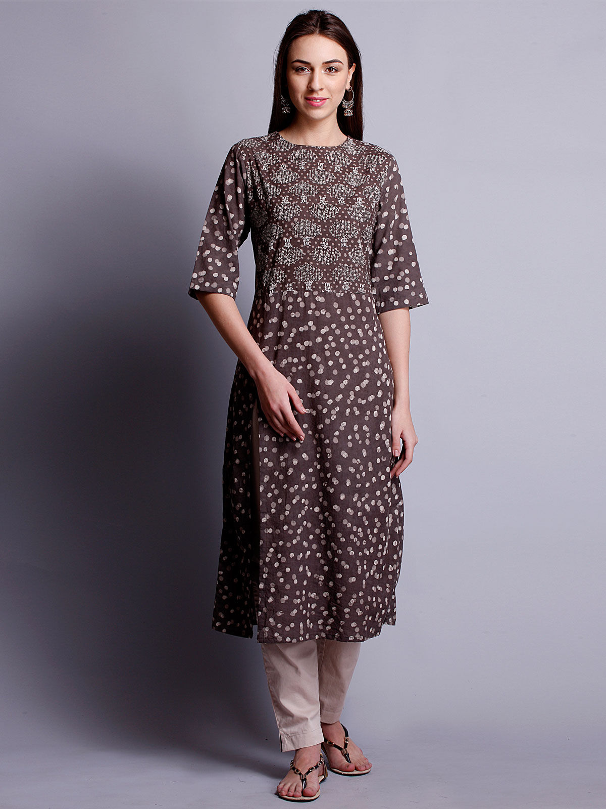 3/4th sleeves dark kashish color long kurta