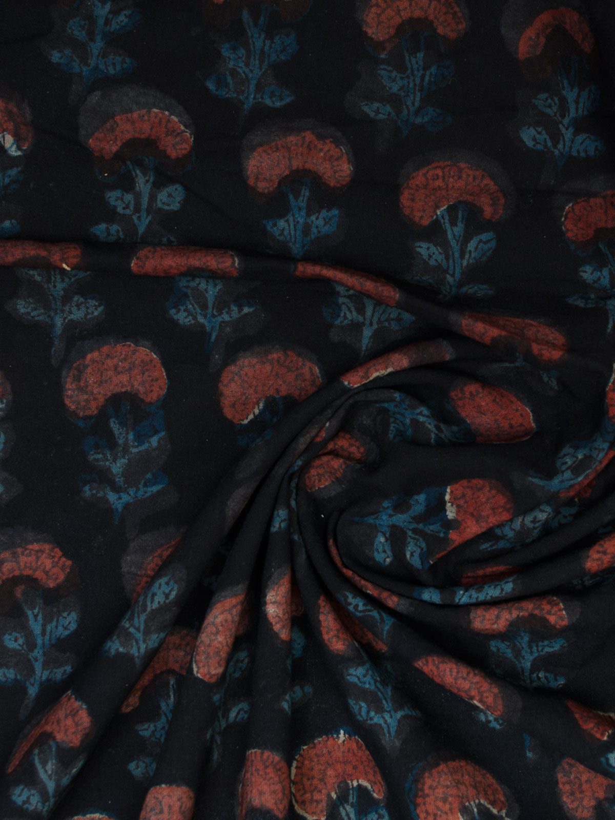 Small printed blue color cotton fabric