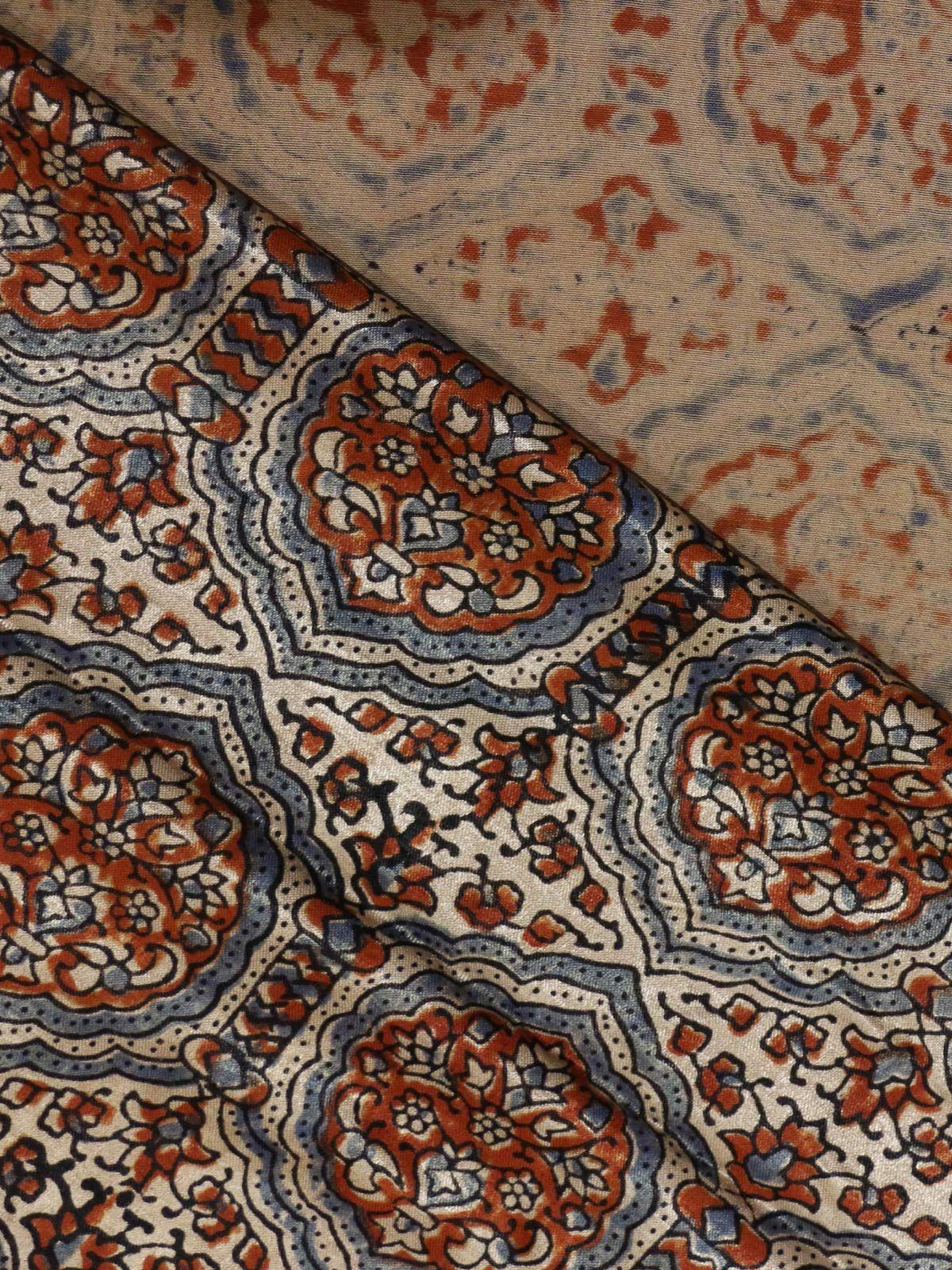 Indigo & Madder Red handblock printed mushroo fabric