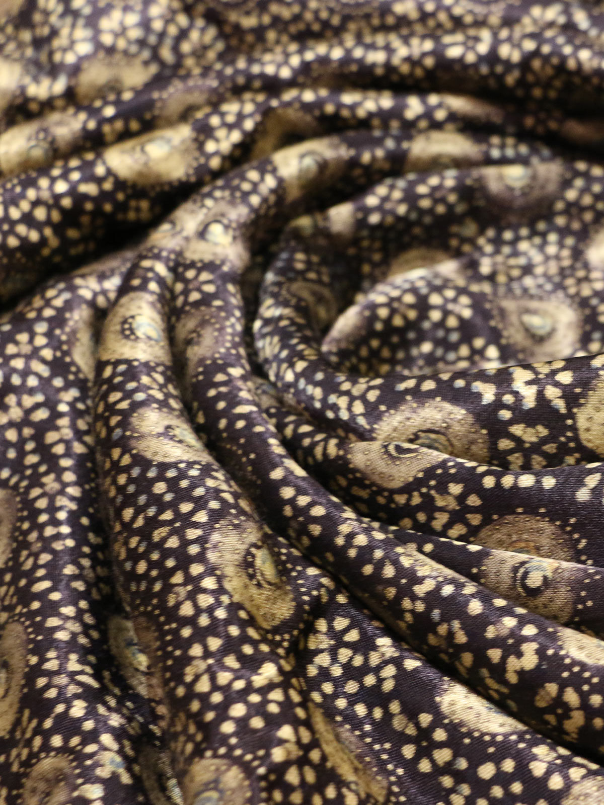 Black olive handblock printed mushroo  fabric