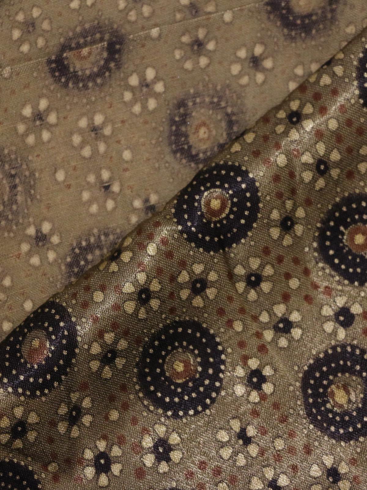 Olive color handblock printed mushroo  fabric