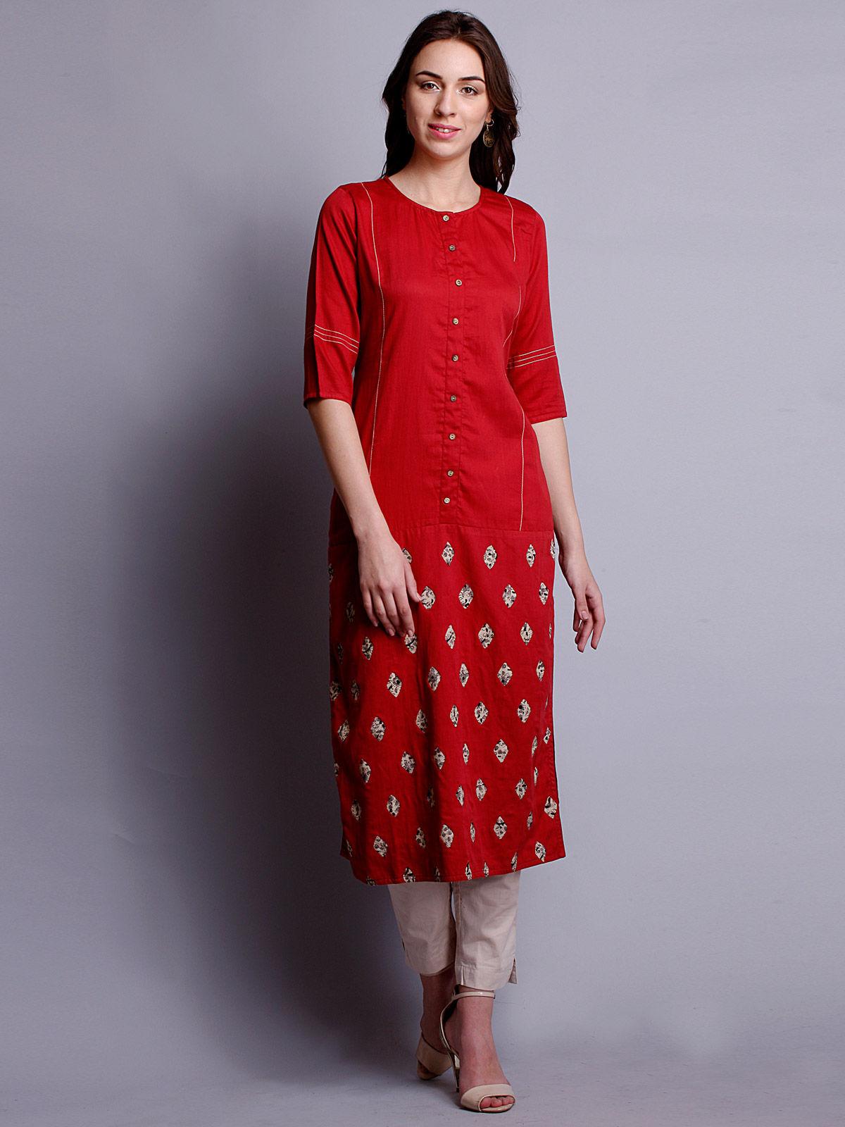 Red color Reverse applique cotton satin kurta