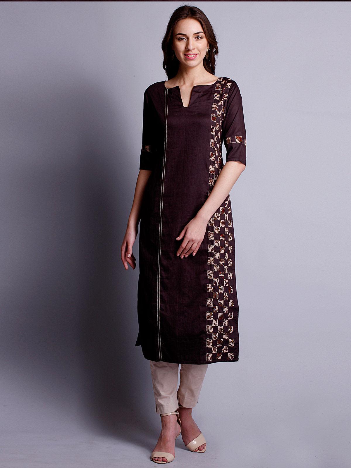 Rasin color reverse applique cotton satin kurta with side panel detailing.
