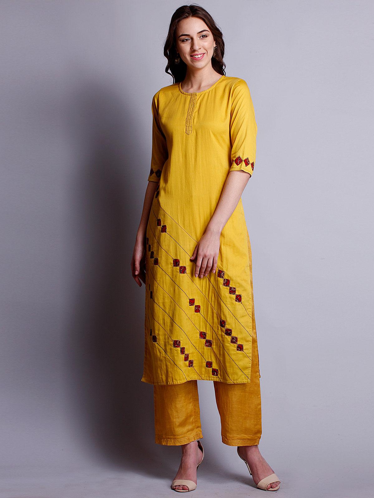 Mustard yellow reverse applique cotton satin kurta