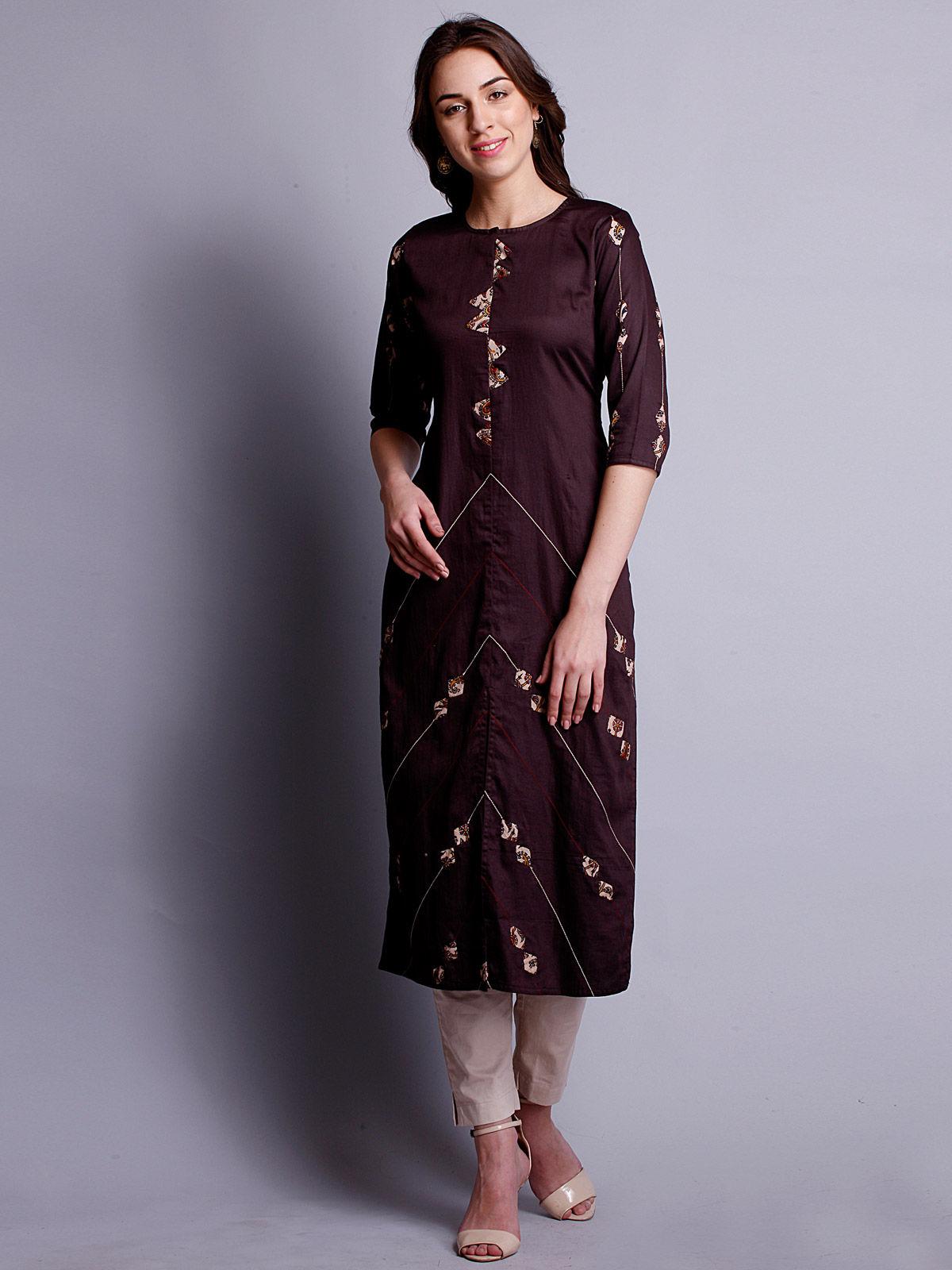 Rasin color reverse applique cotton satin kurta