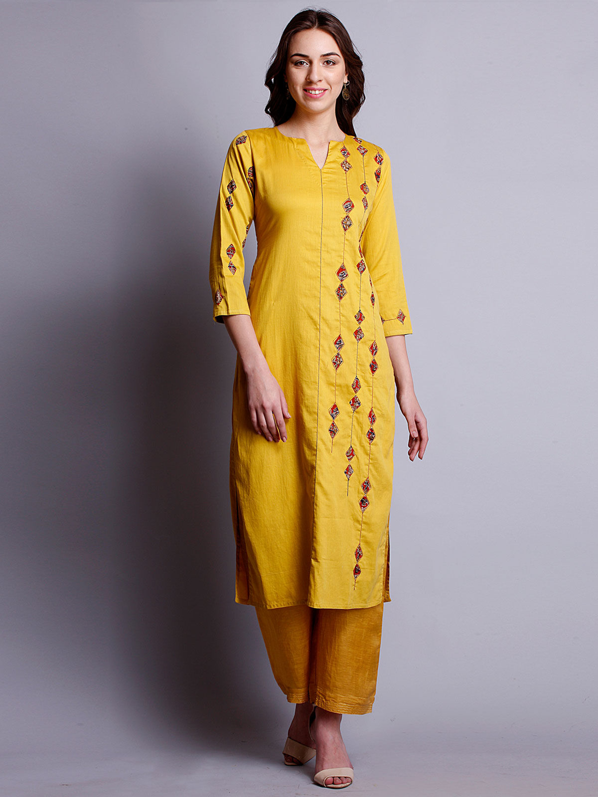 Mustard yellow reverse applique cotton satin kurta with side detailing