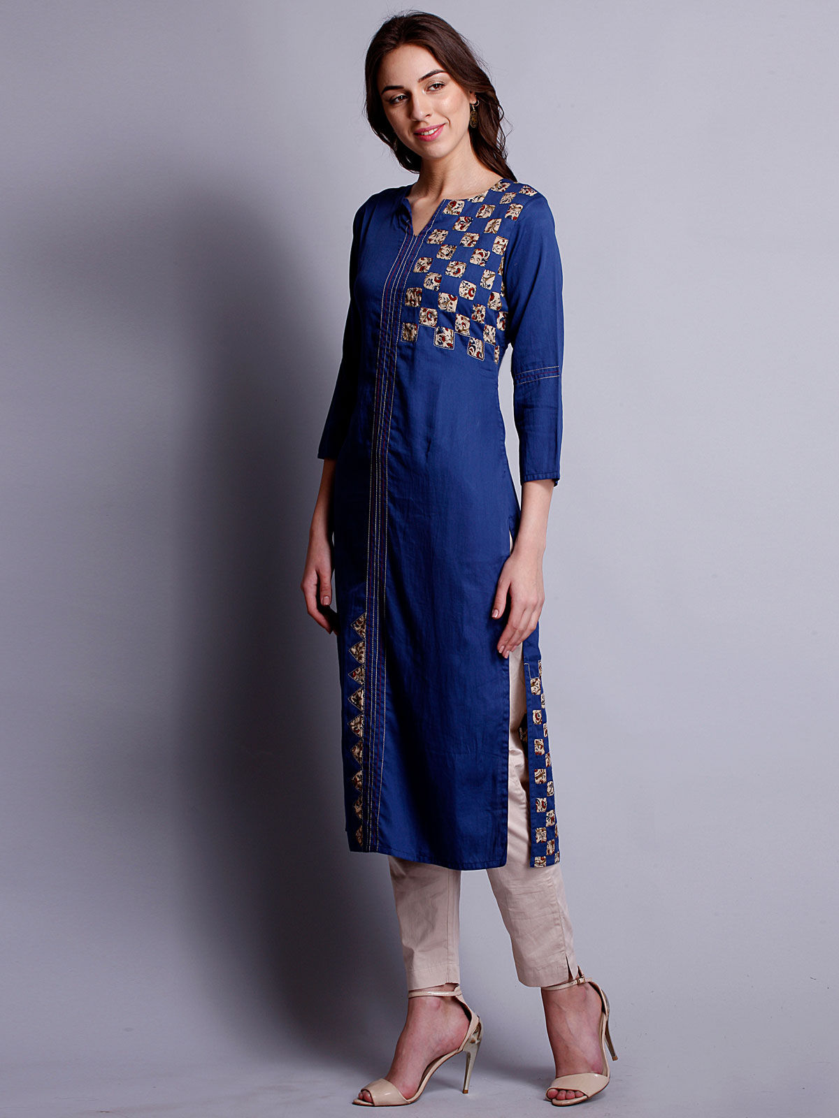 Royal blue reverse applique cotton satin kurta