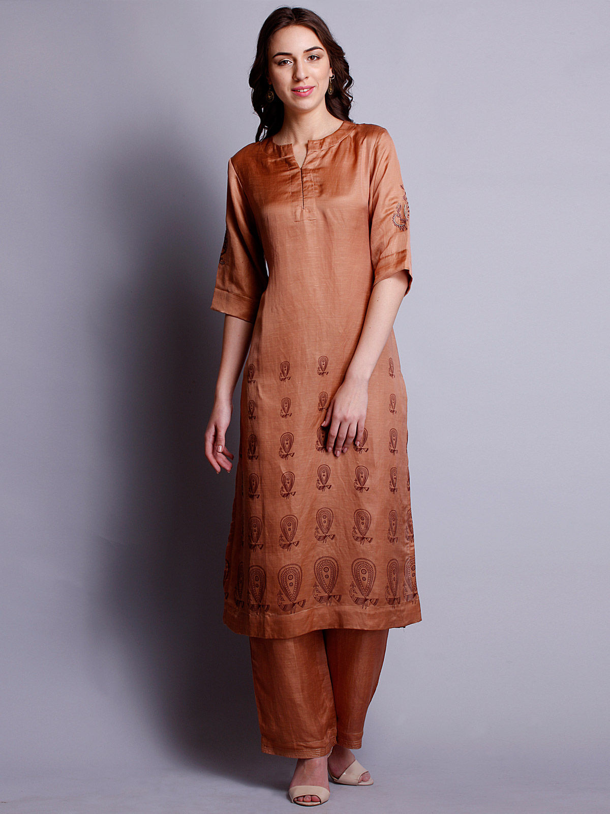 Copper color silk linen Embroidered long kurta