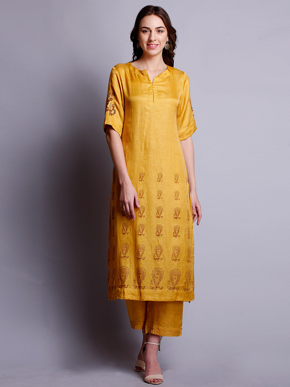 Yellow color silk linen embroidered long kurta