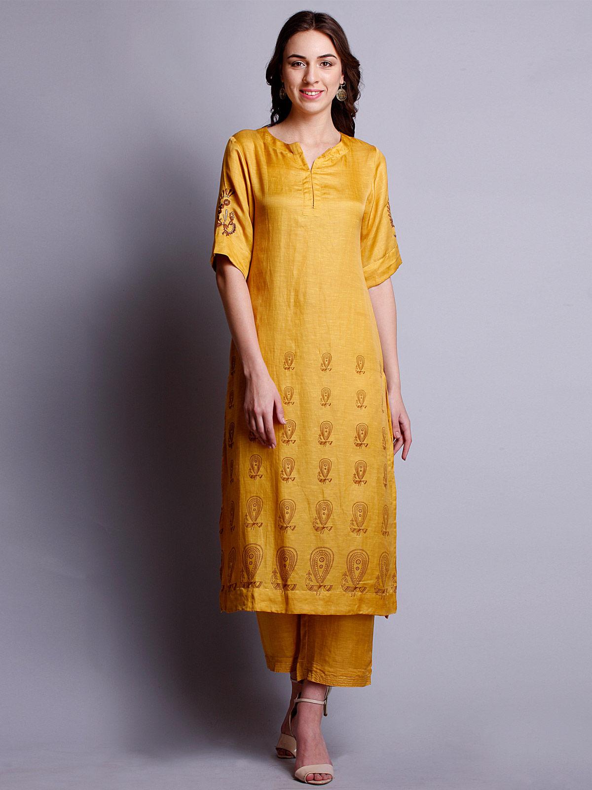 Yellow color silk linen embroidered long kurta