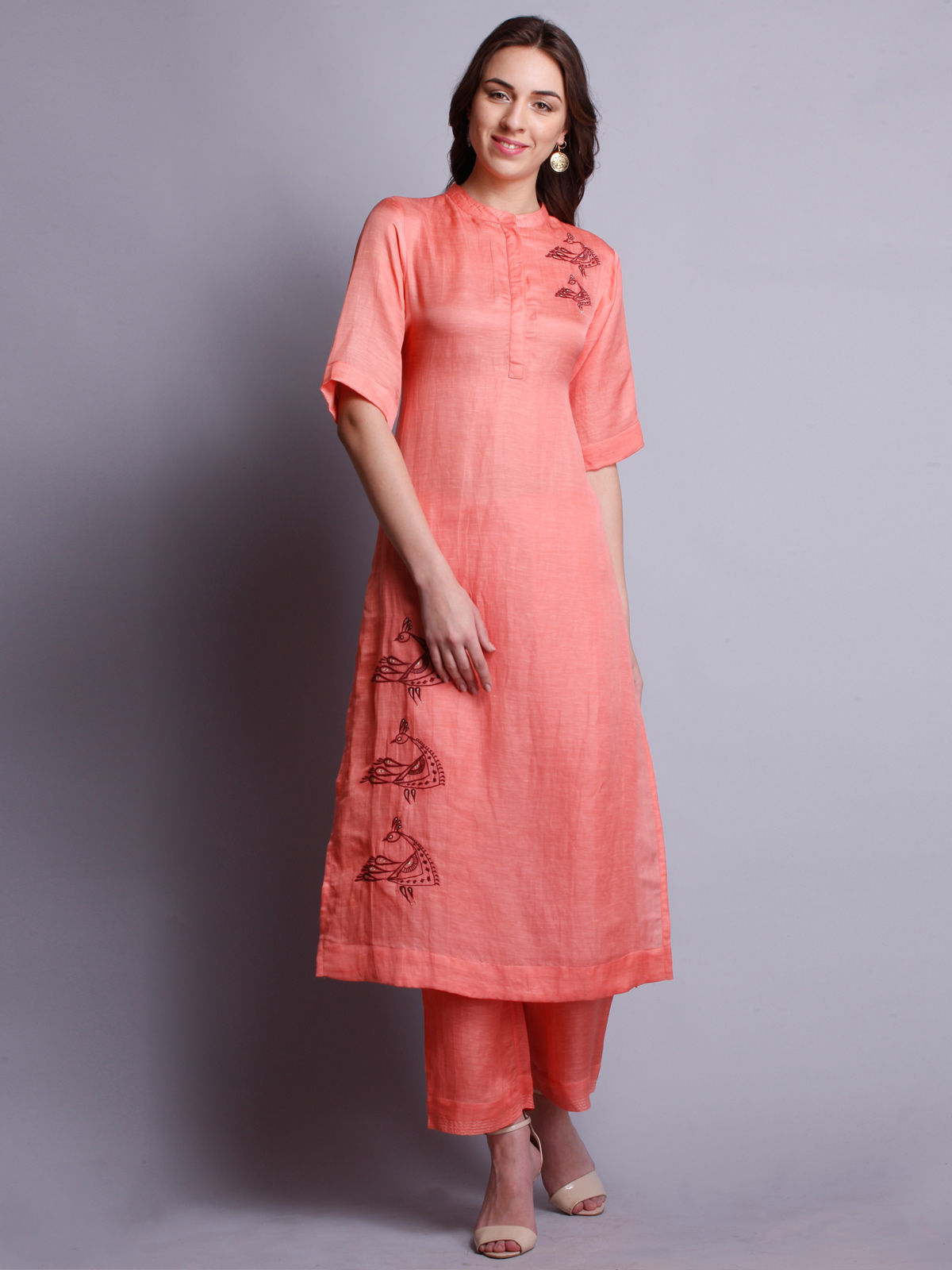 PEACH COLOR Silk Linen Embroidered LONG KURTA