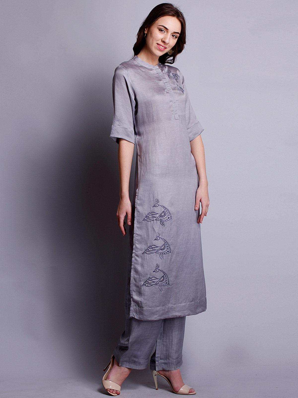 grey Embriodered  silk linen long kurta