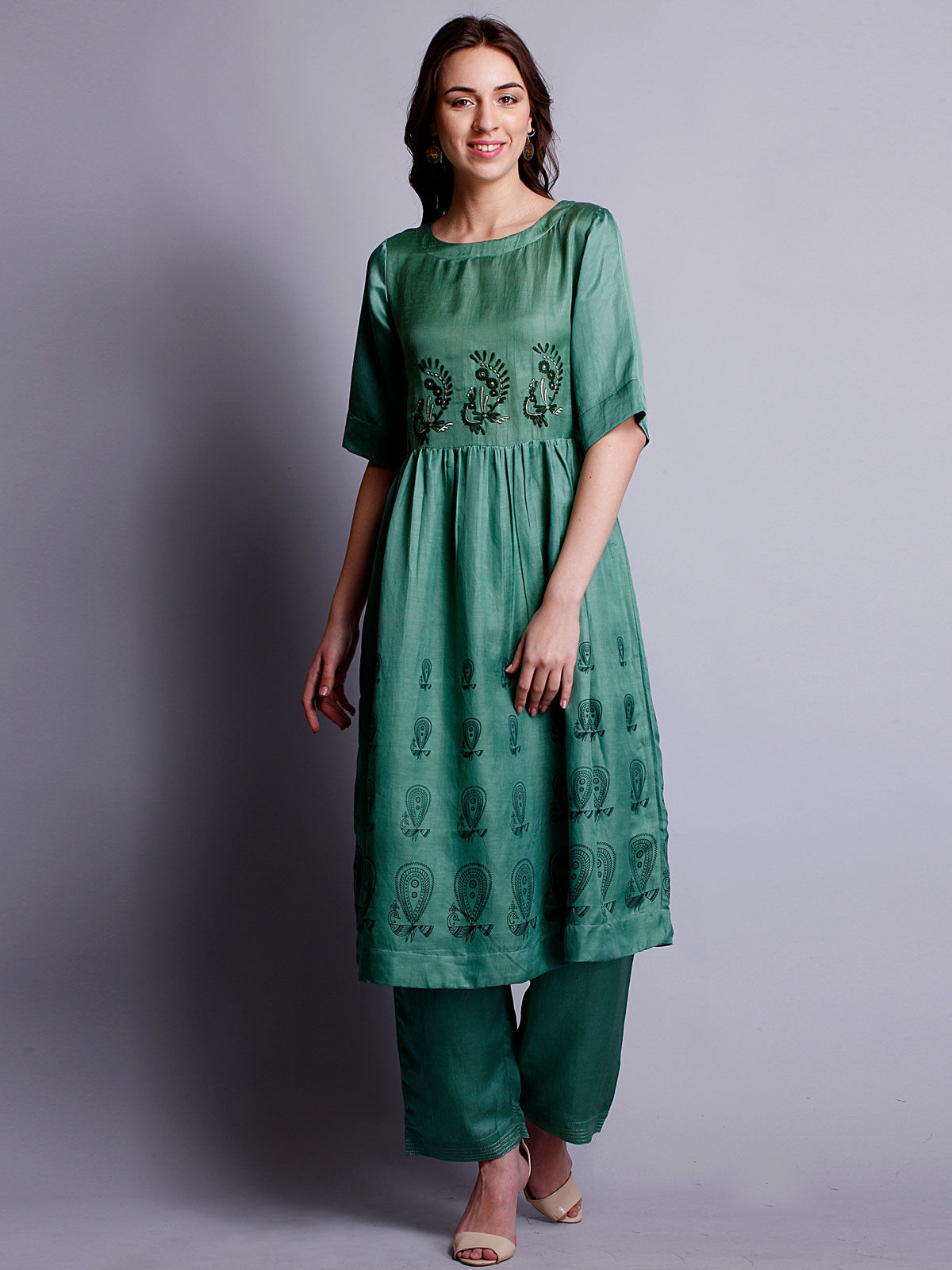 Green color Silk linen embriodered long kurta