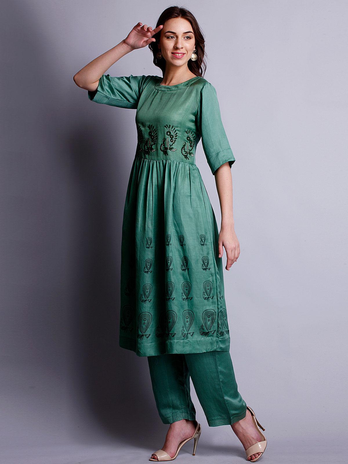 Green color Silk linen embriodered long kurta