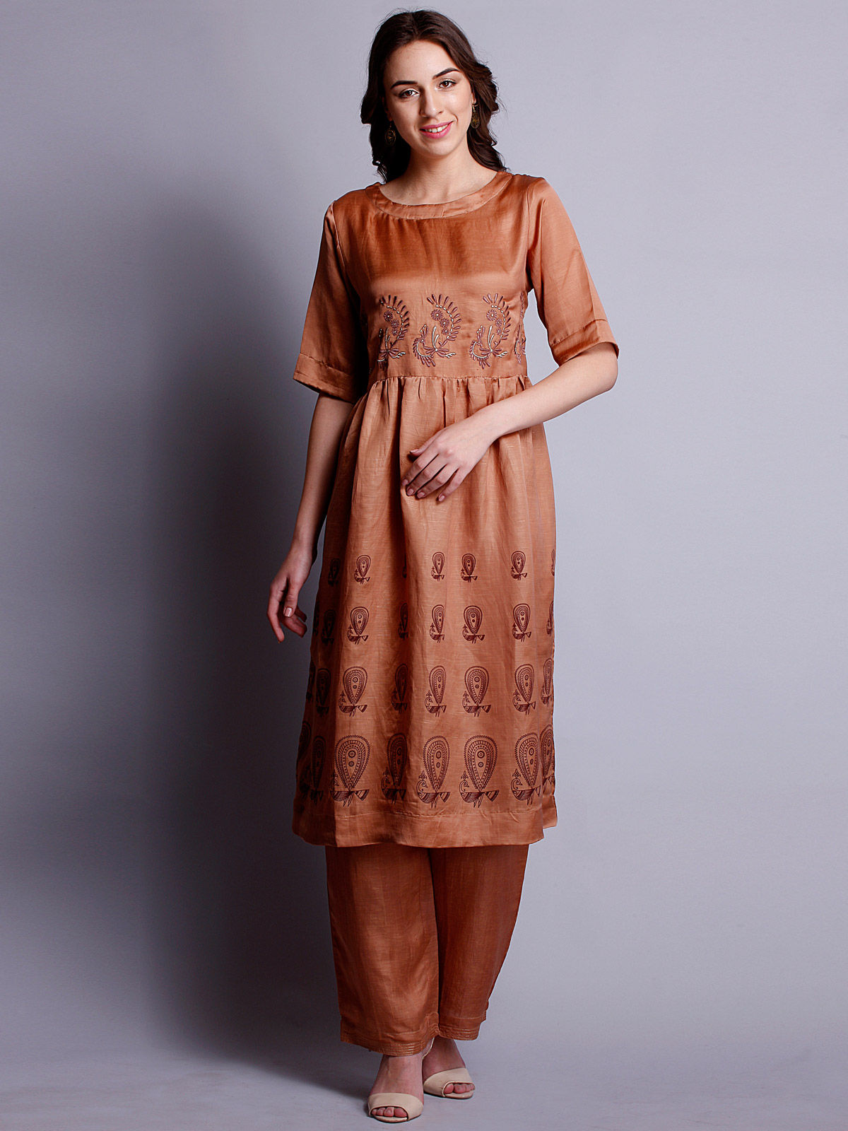 orange color silk linen Embroidered long kurta