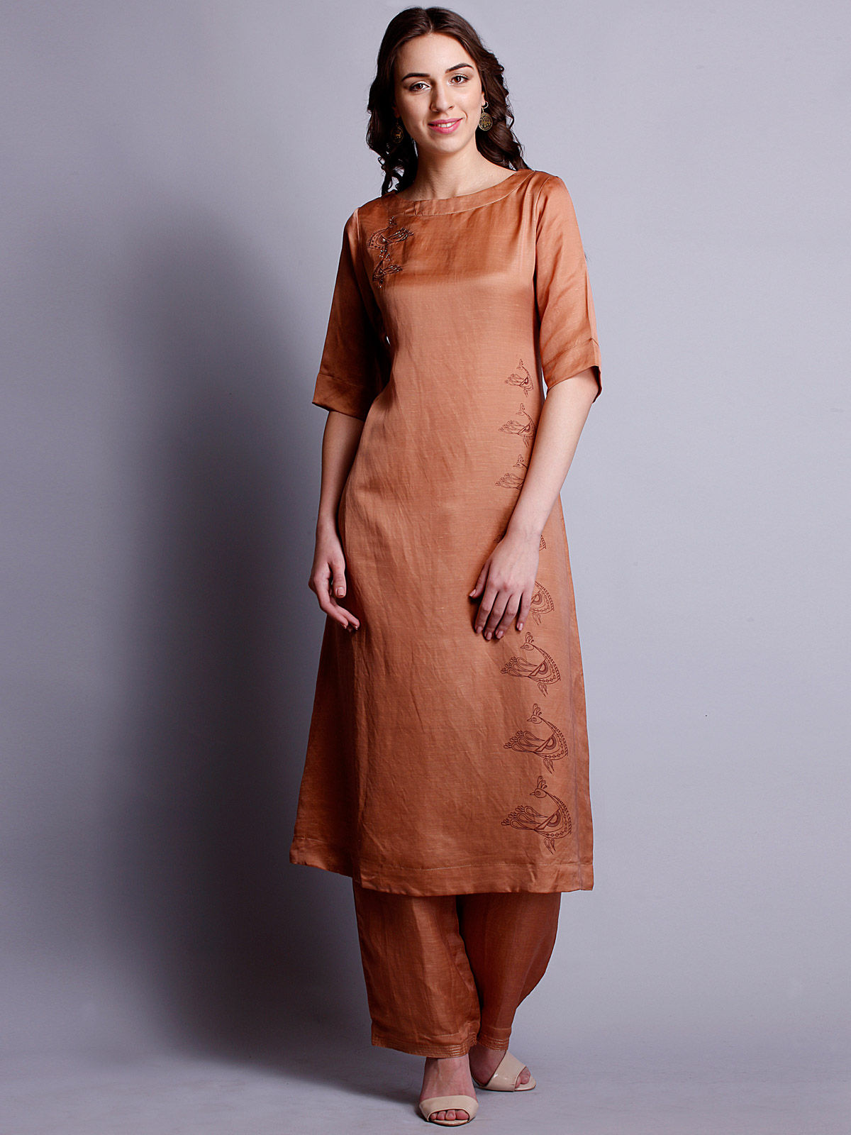 Copper color embroidered silk linen long kurta
