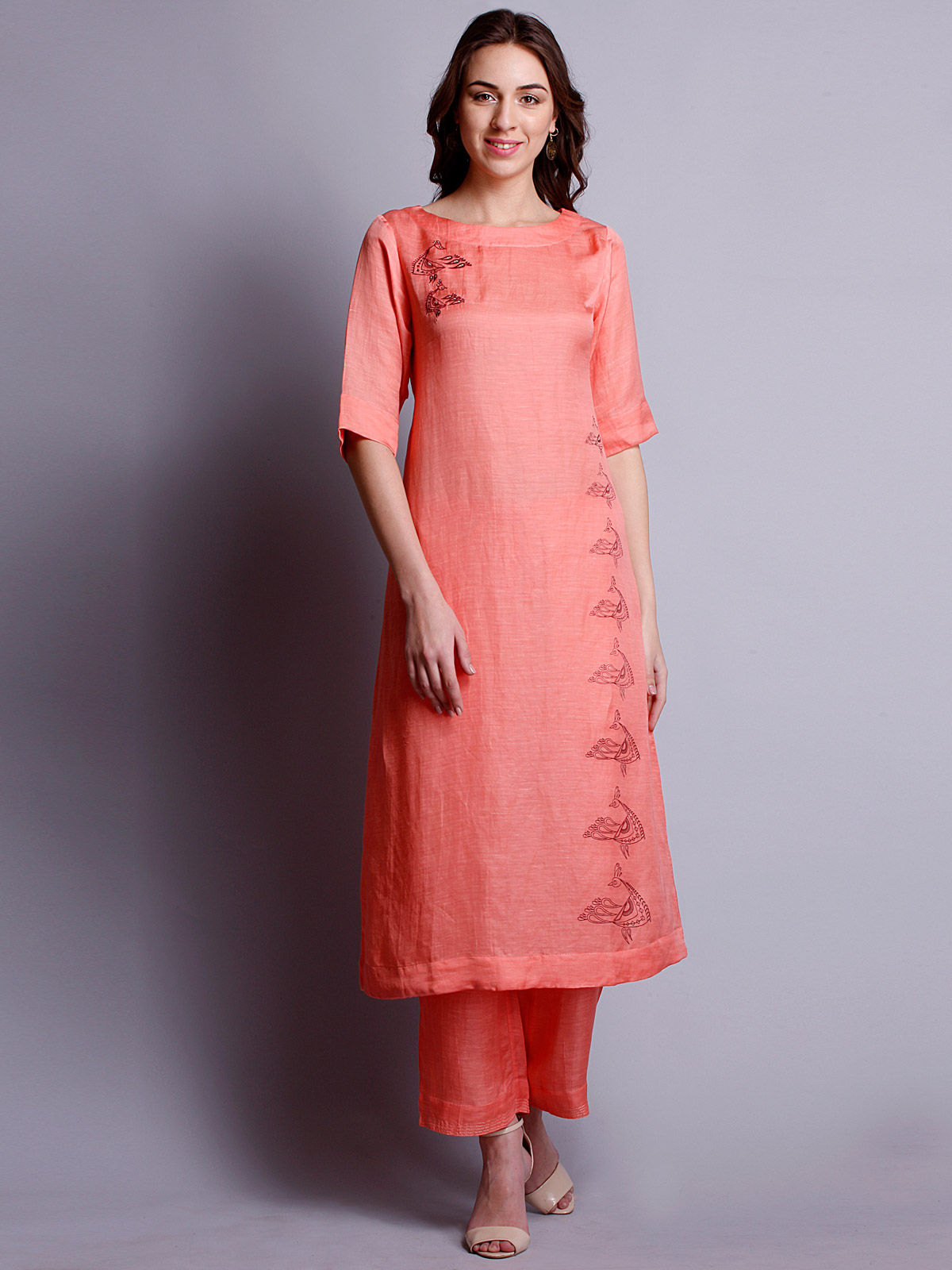 Peach color silk linen embroidered long kurta