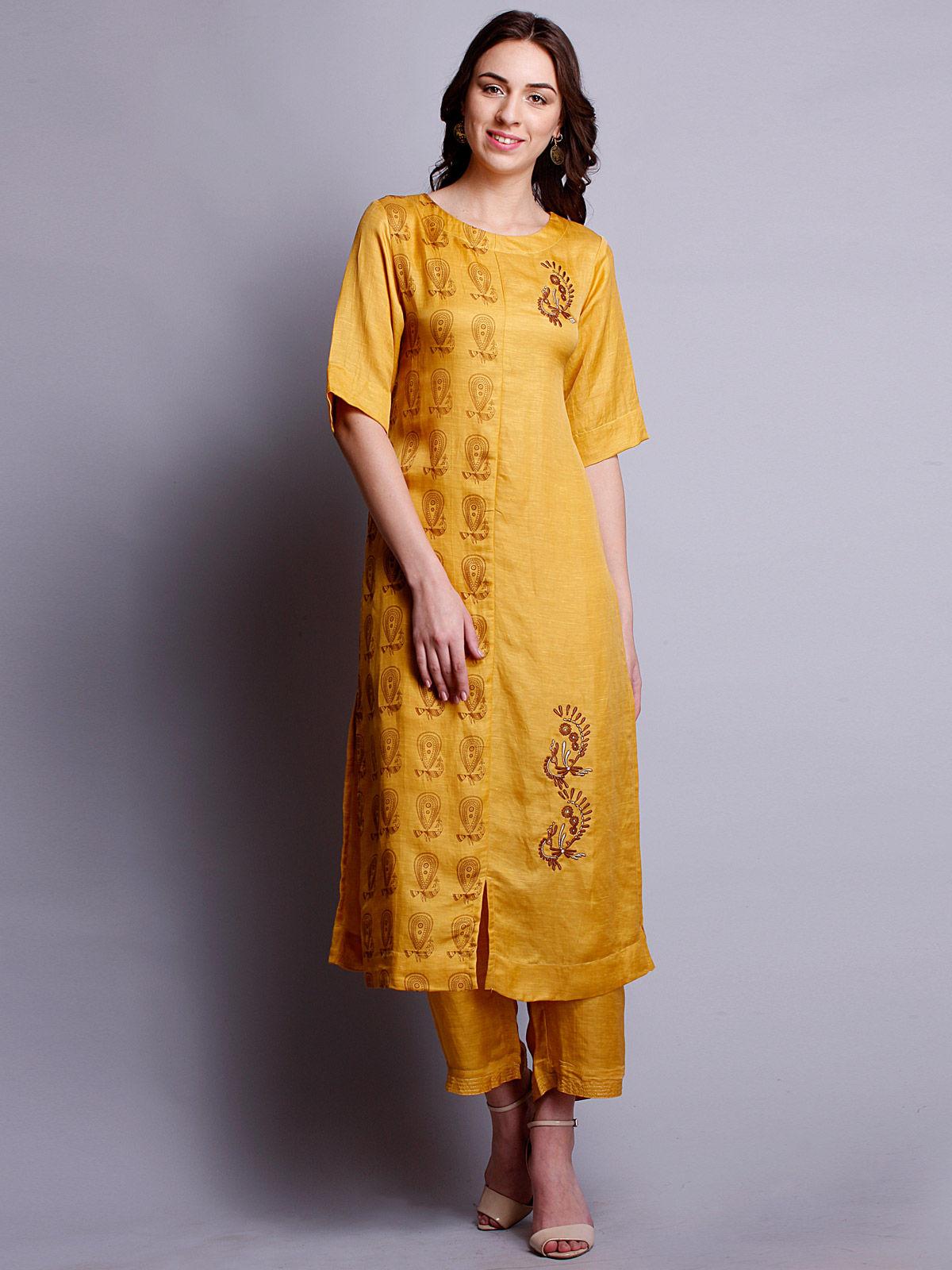 yellow color Embroidered silk linen long kurta