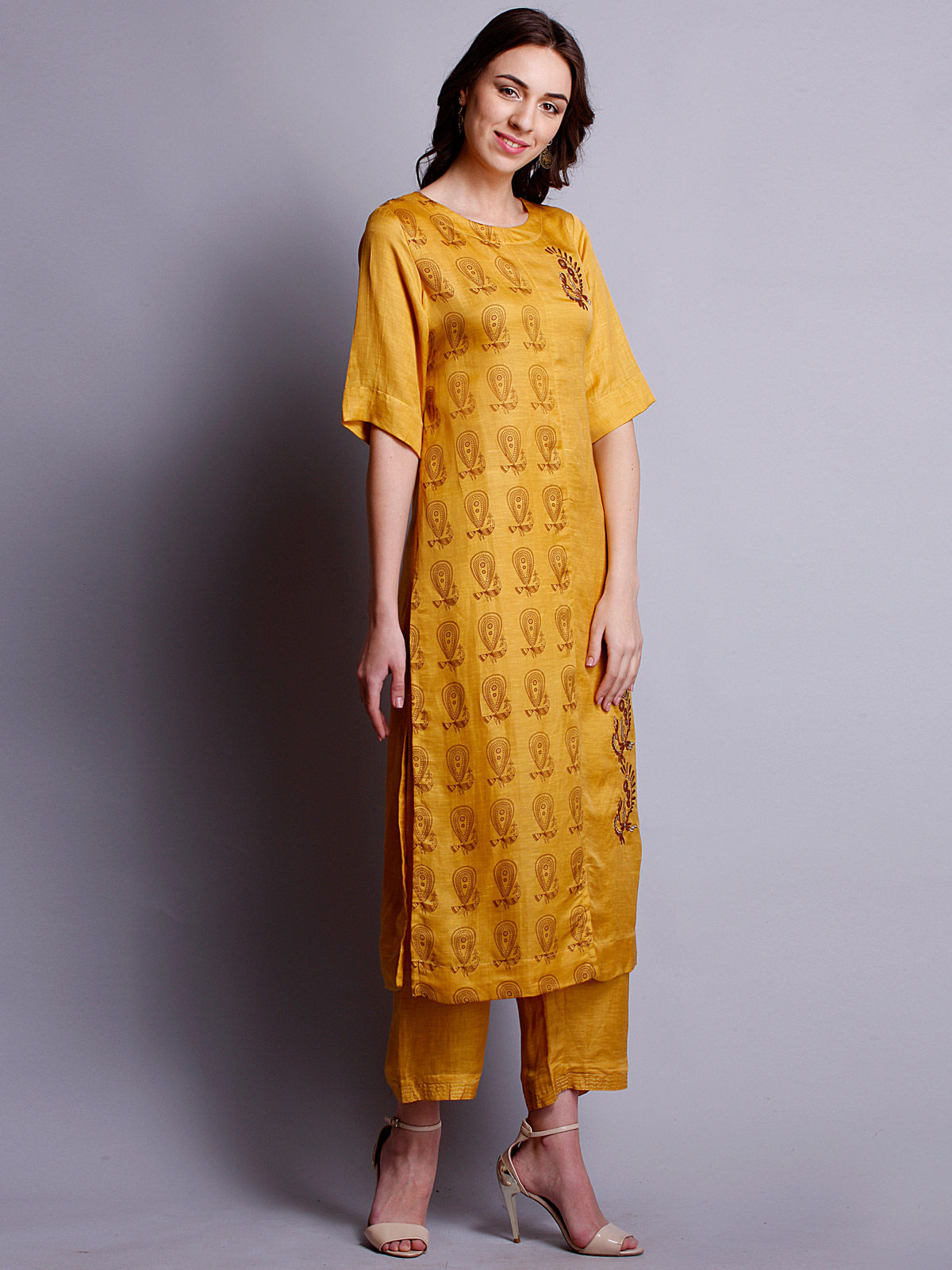 yellow color Embroidered silk linen long kurta