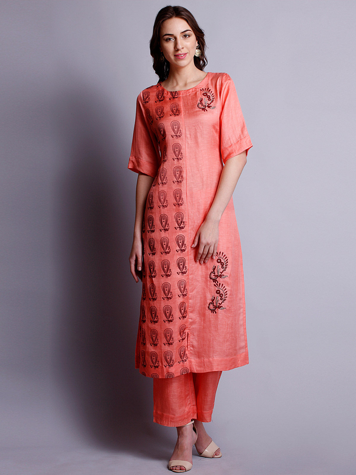 Peach Color embroidered Silk Linen Long kurta