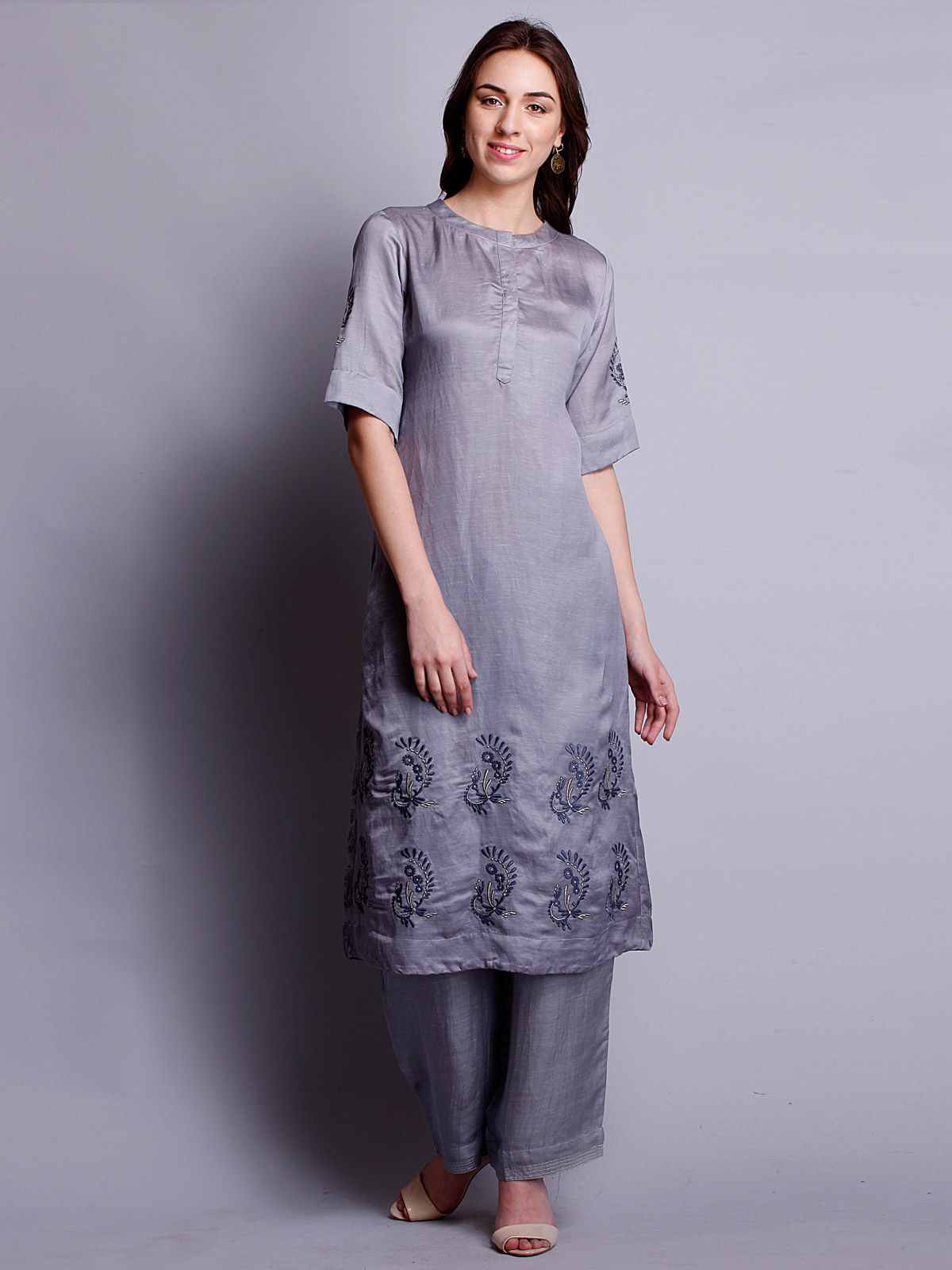 Grey color Silk linen  embriodered long kurta