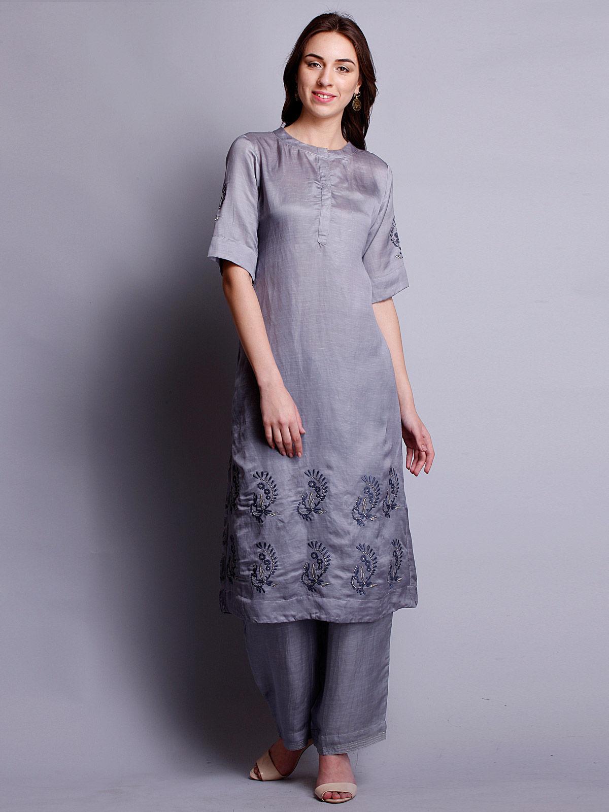 Grey color Silk linen  embriodered long kurta