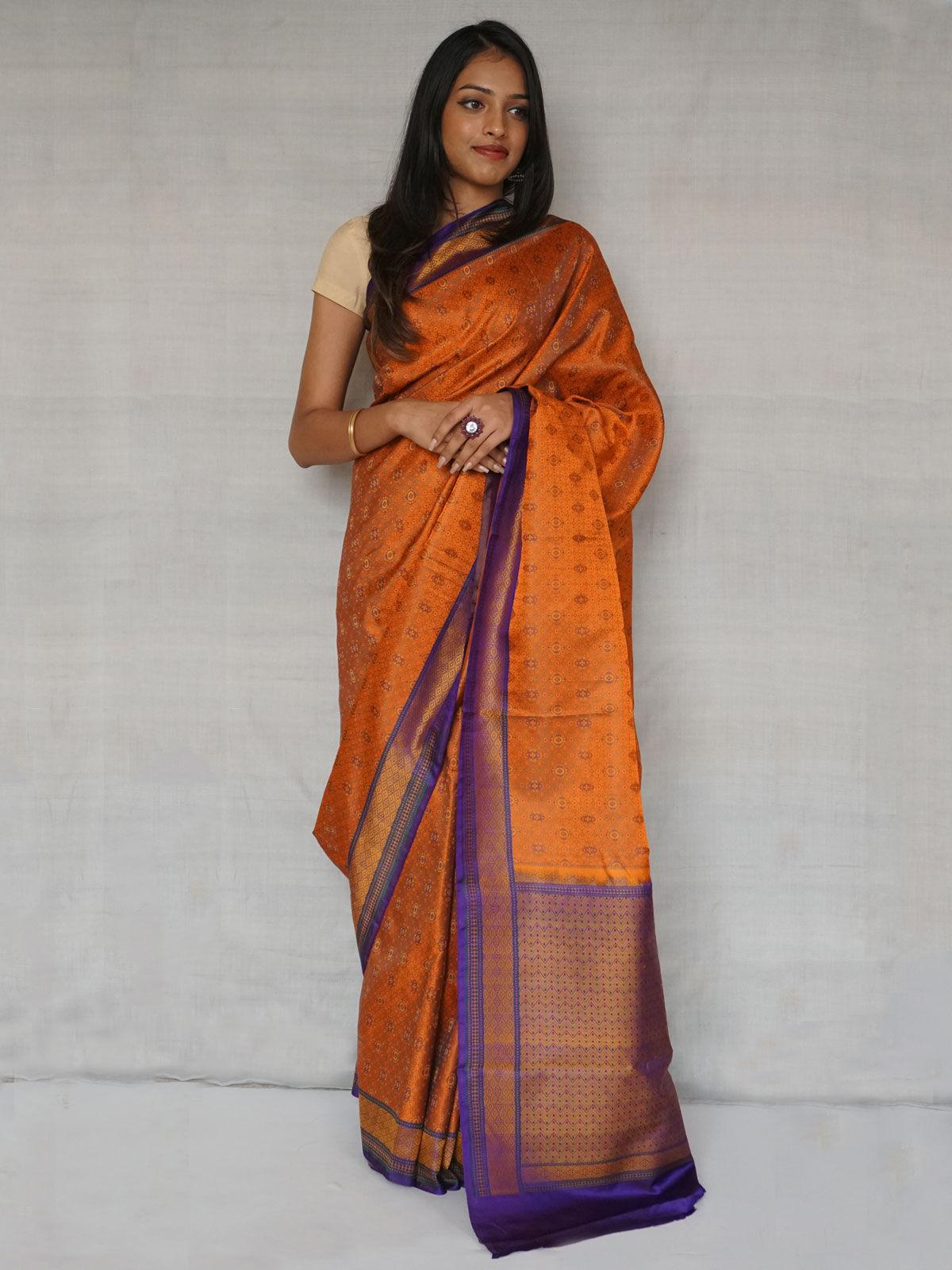 Orange and purple Tanchoi banarasi Silk saree with blouse.