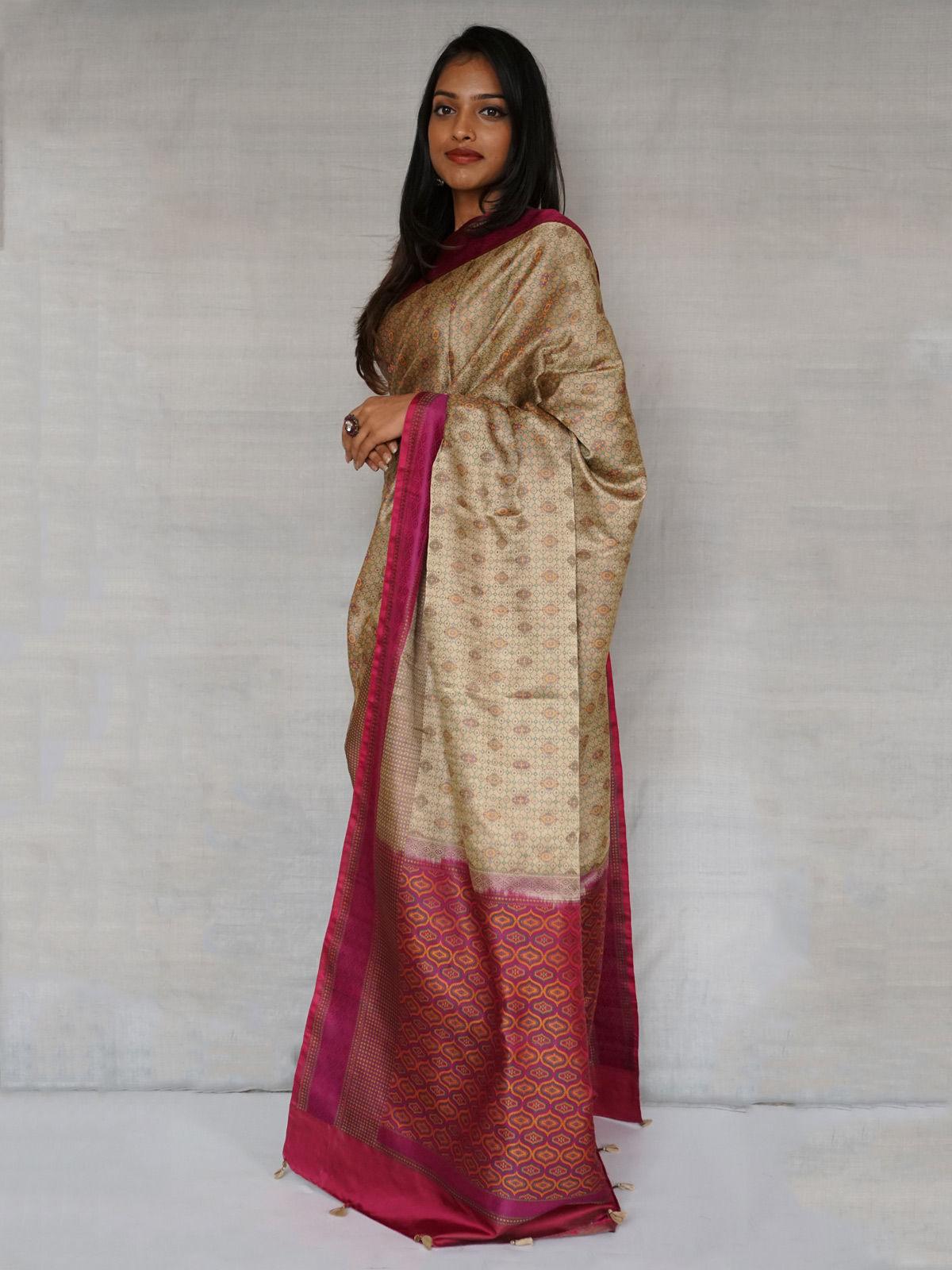 Beige and purple Tanchoi banarasi  pure  Silk saree  with blouse.