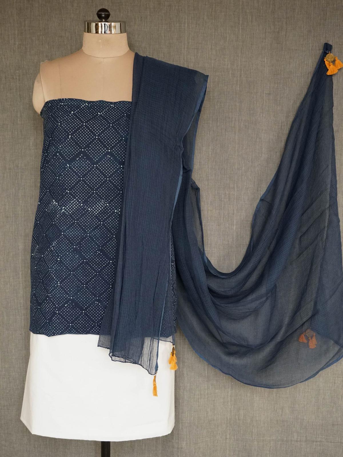 Indigo printed cotton dress material with dupatta
