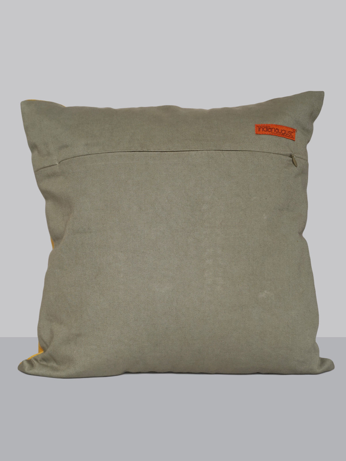 yellow hand patti-work tusser silk cushion cover