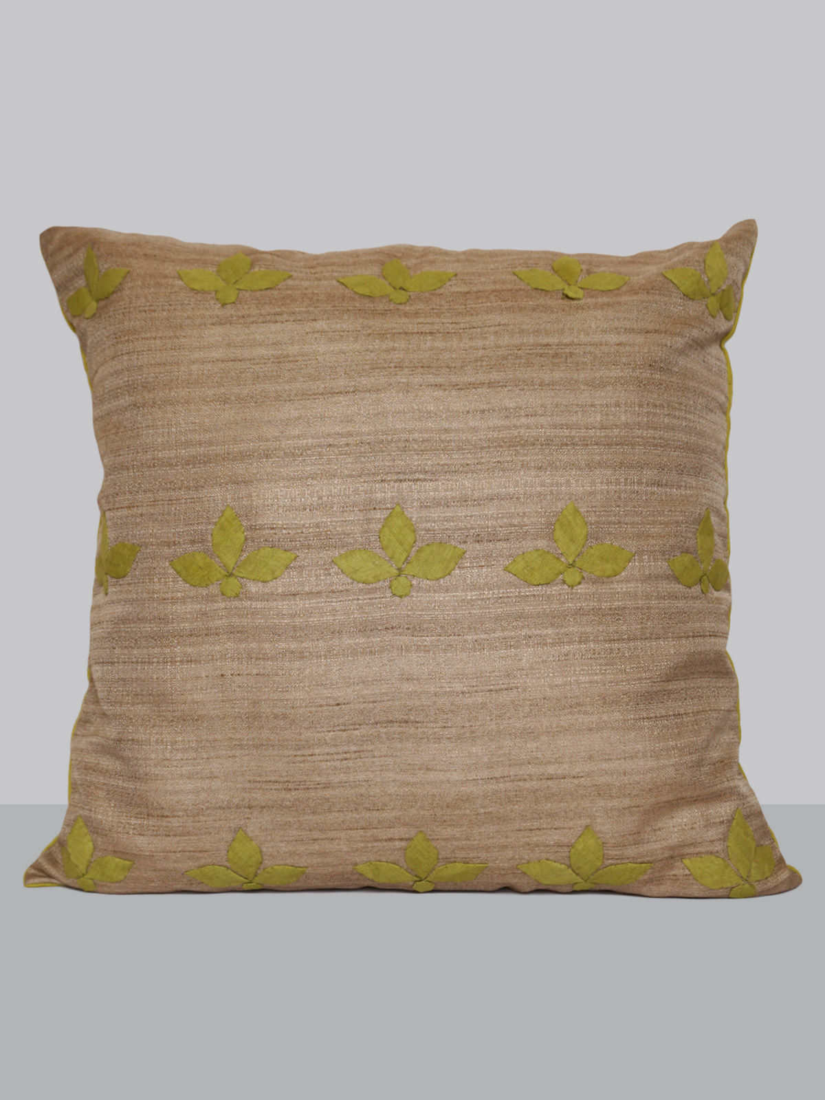 Beige hand patti-work silk cushion cover