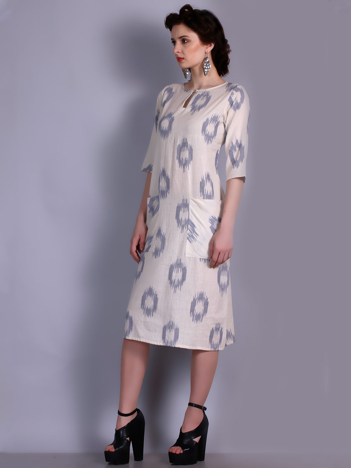 Beige color Ikat cotton dress