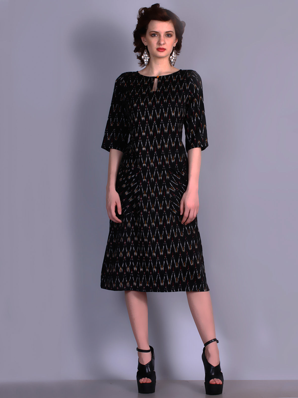 Black color Ikat cotton dress with waves pattern