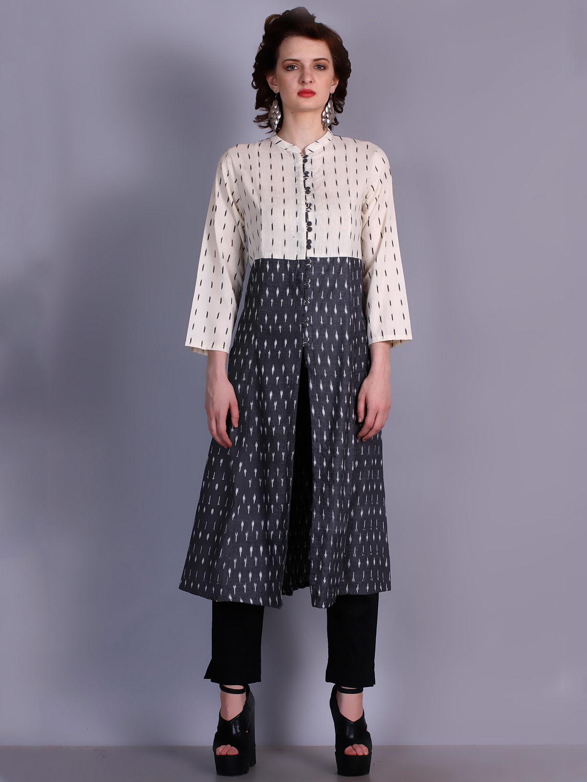 Ikat cotton white and black sleves kalidar kurti