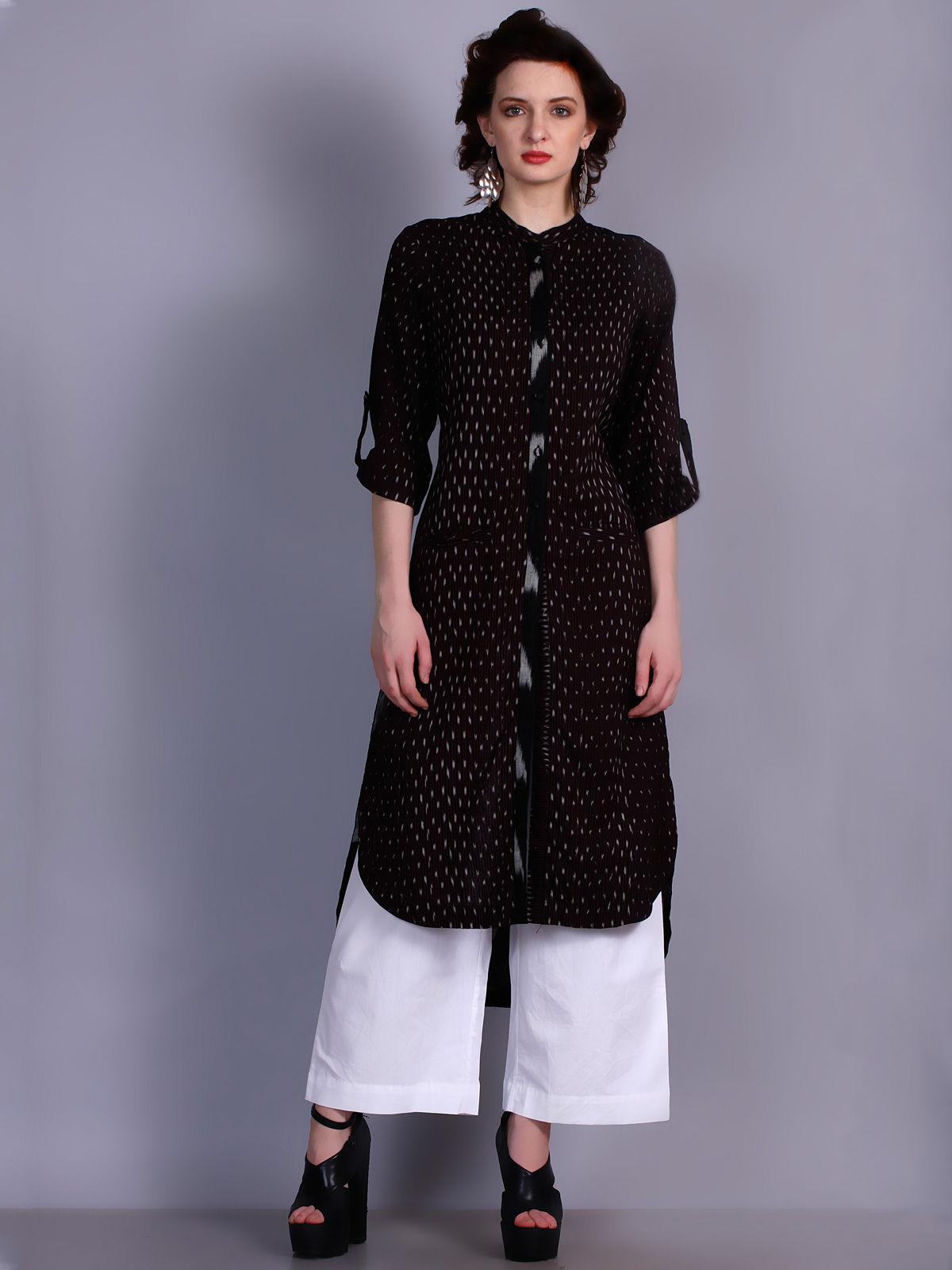 Black Ikat cotton long shirt dress with black placket detailing
