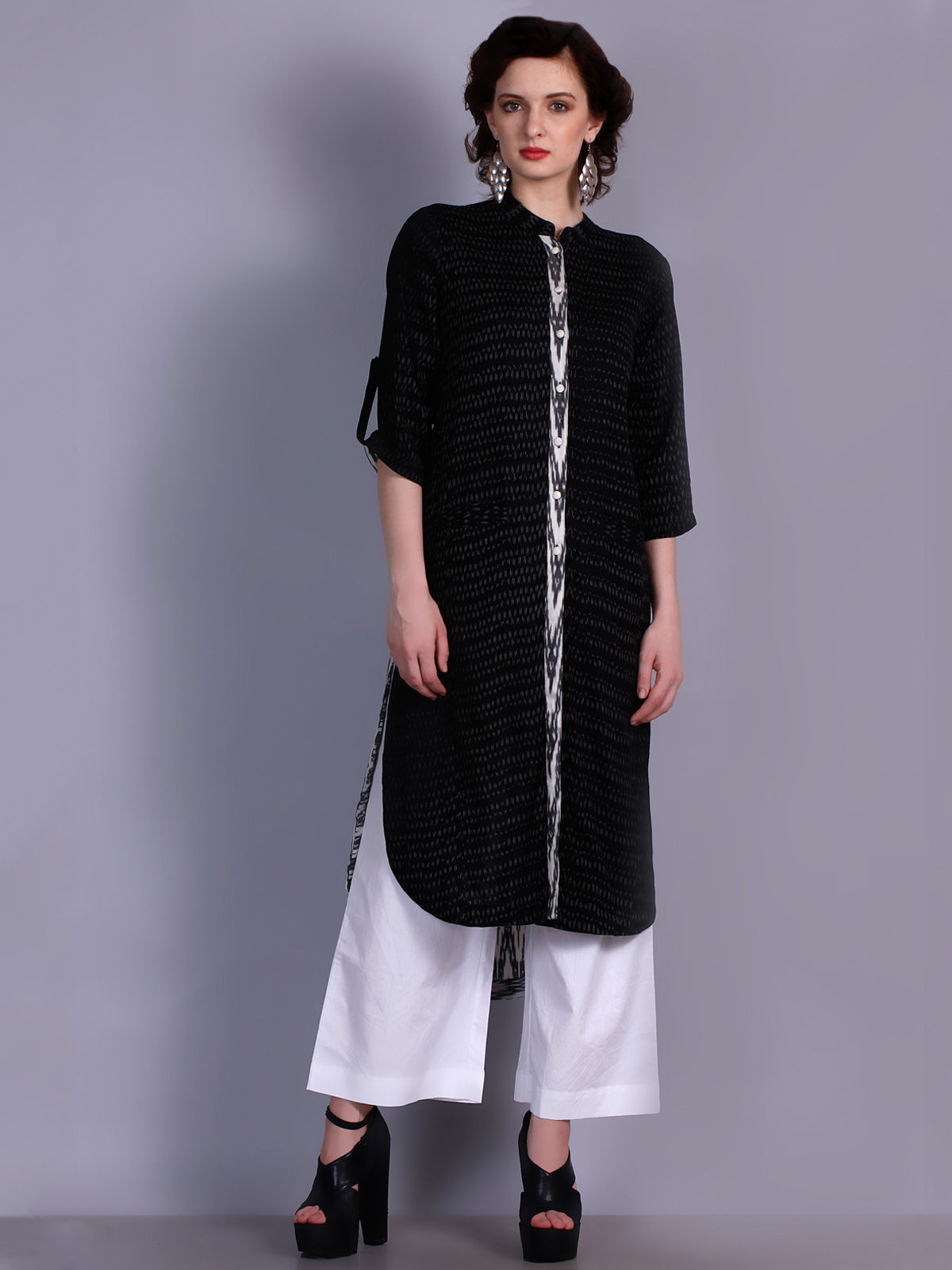 Black Ikat cotton long shirt dress with placket detailing