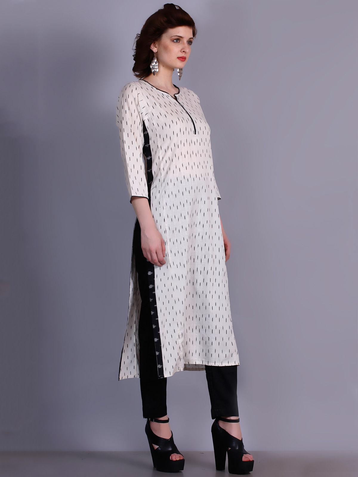 Beige color Ikat cotton long kurti