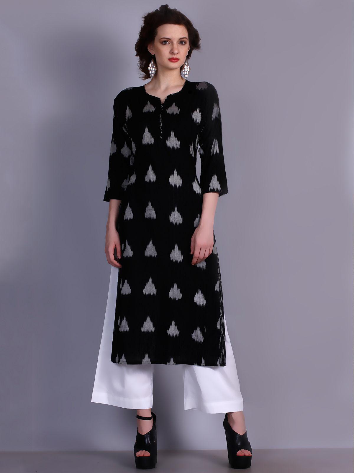 Black color Ikat cotton long kurti