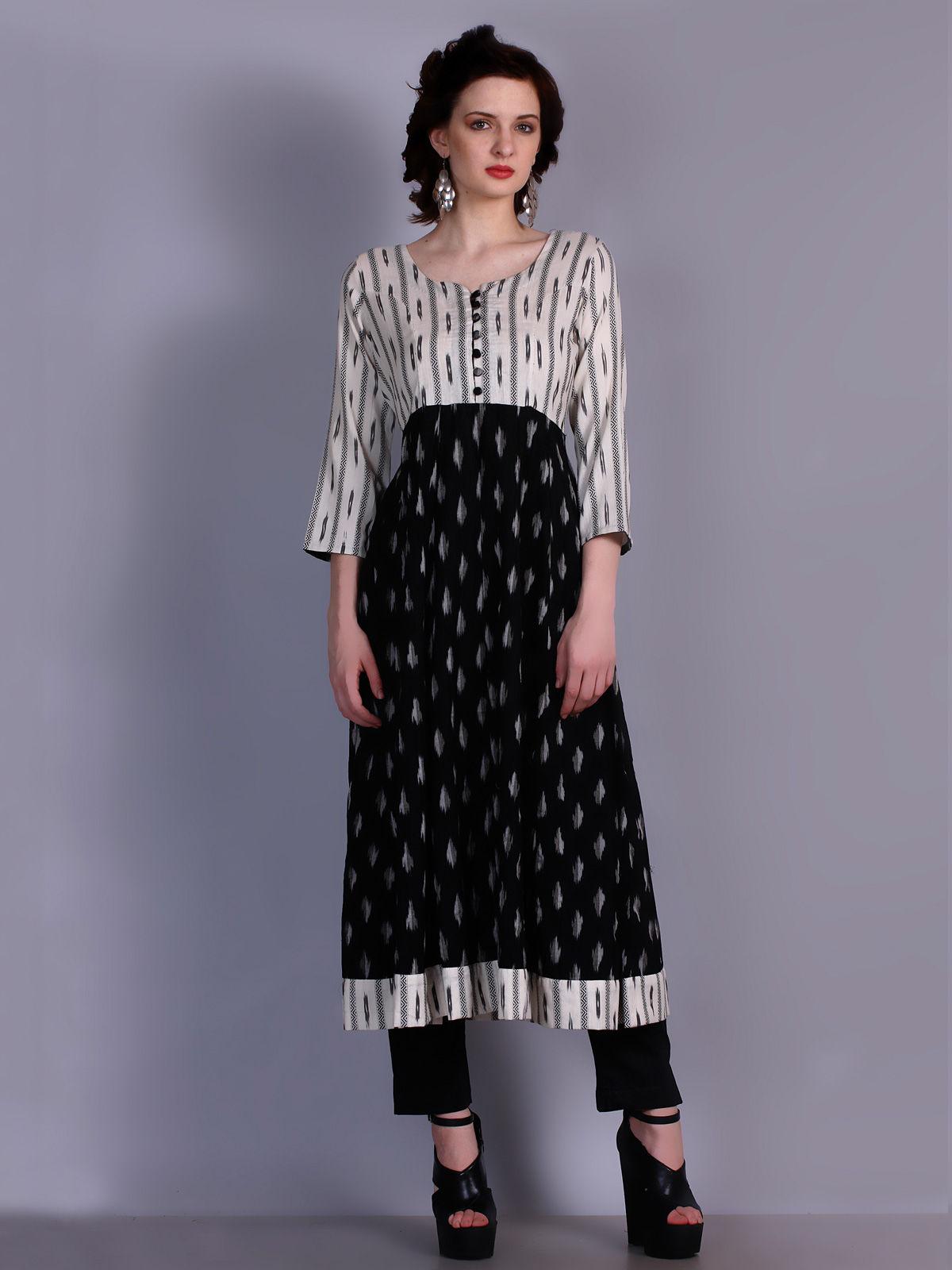 black and white Ikat cotton kalidar kurta