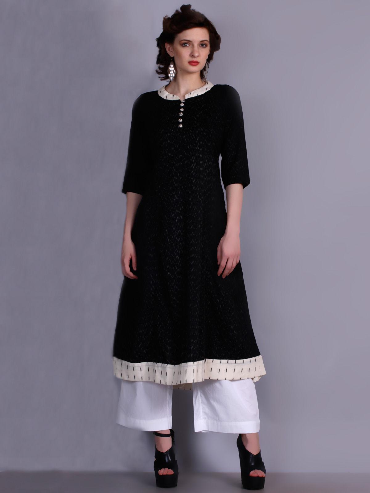 Black Ikat cotton princess kurta with neck detailing