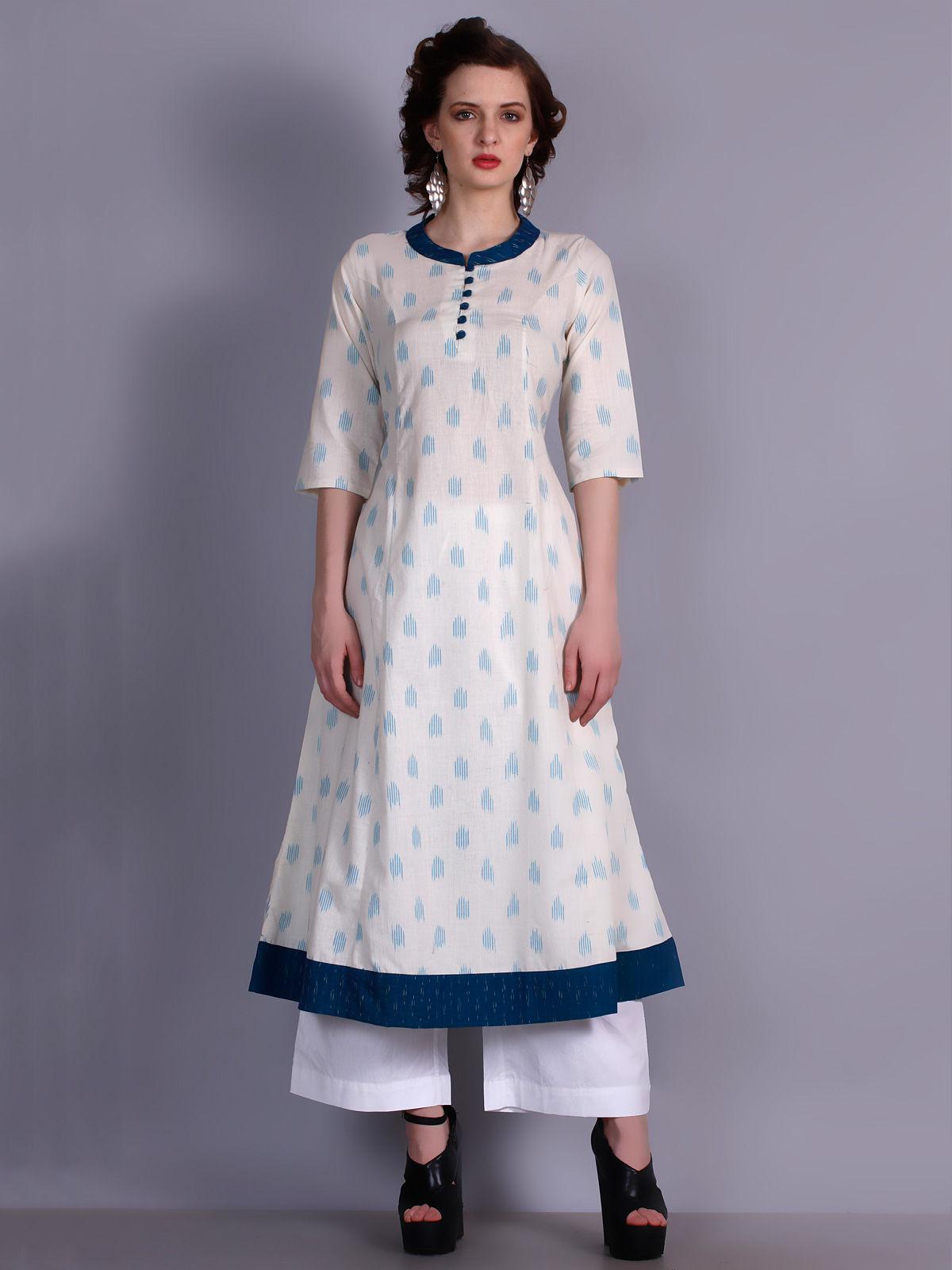 White Ikat cotton long princess kurta with neck detailing