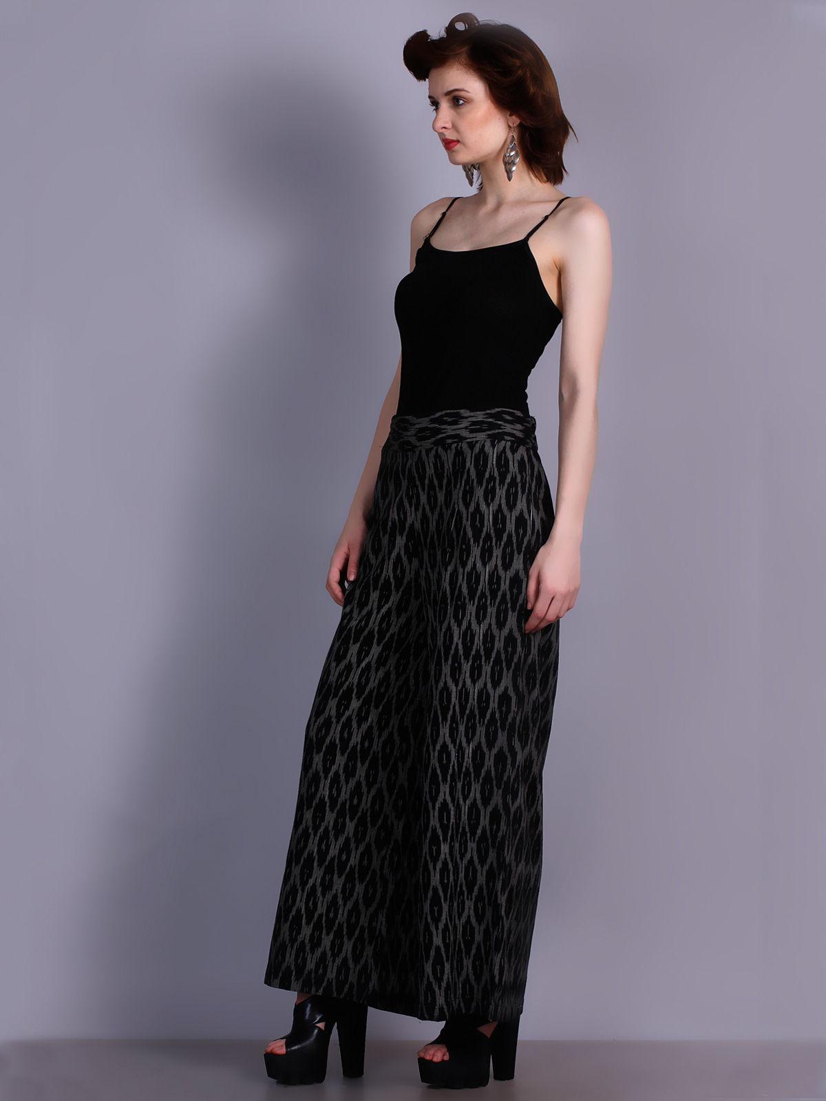 Black color Ikat cotton plazzo