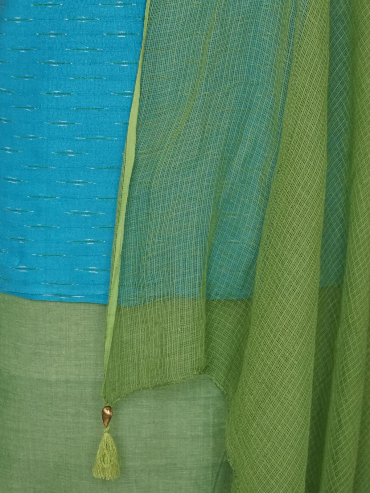 Blue Green cotton ikat dress material with kota cotton dupatta
