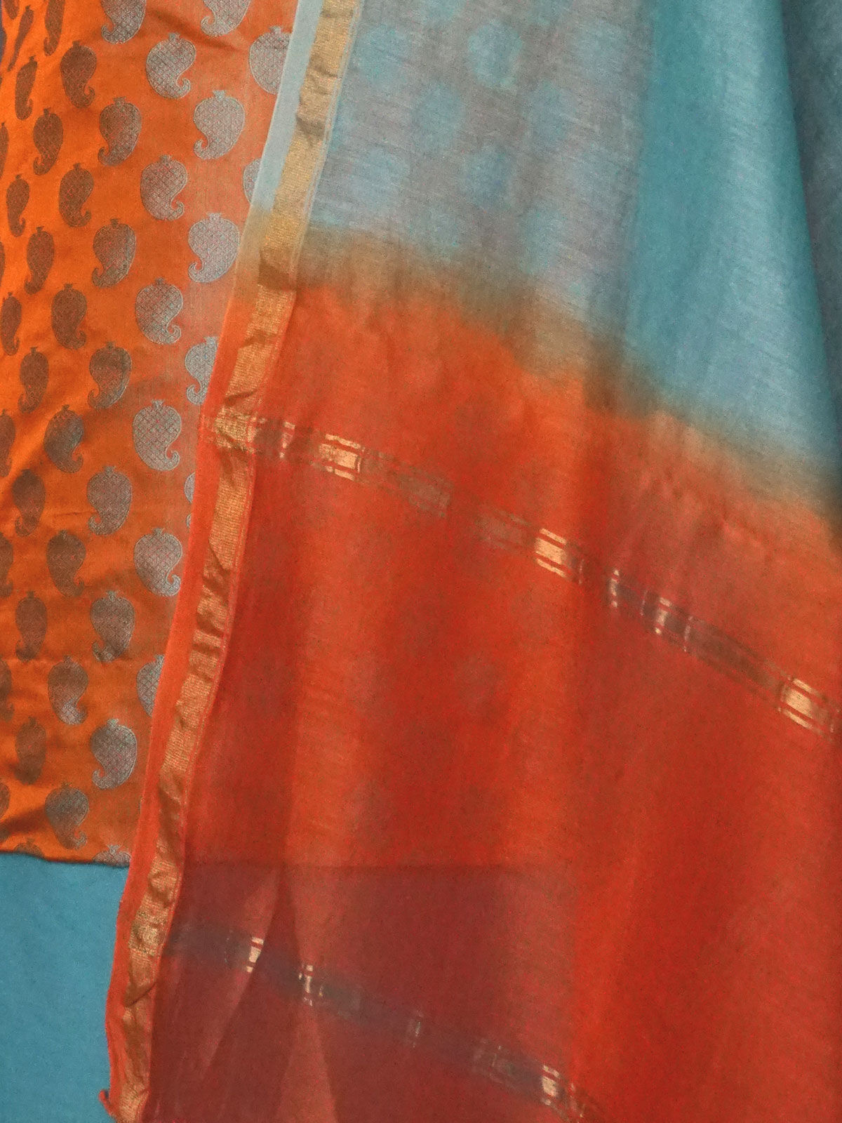 Multicolor tanchoi silk dress material with chanderi dupatta