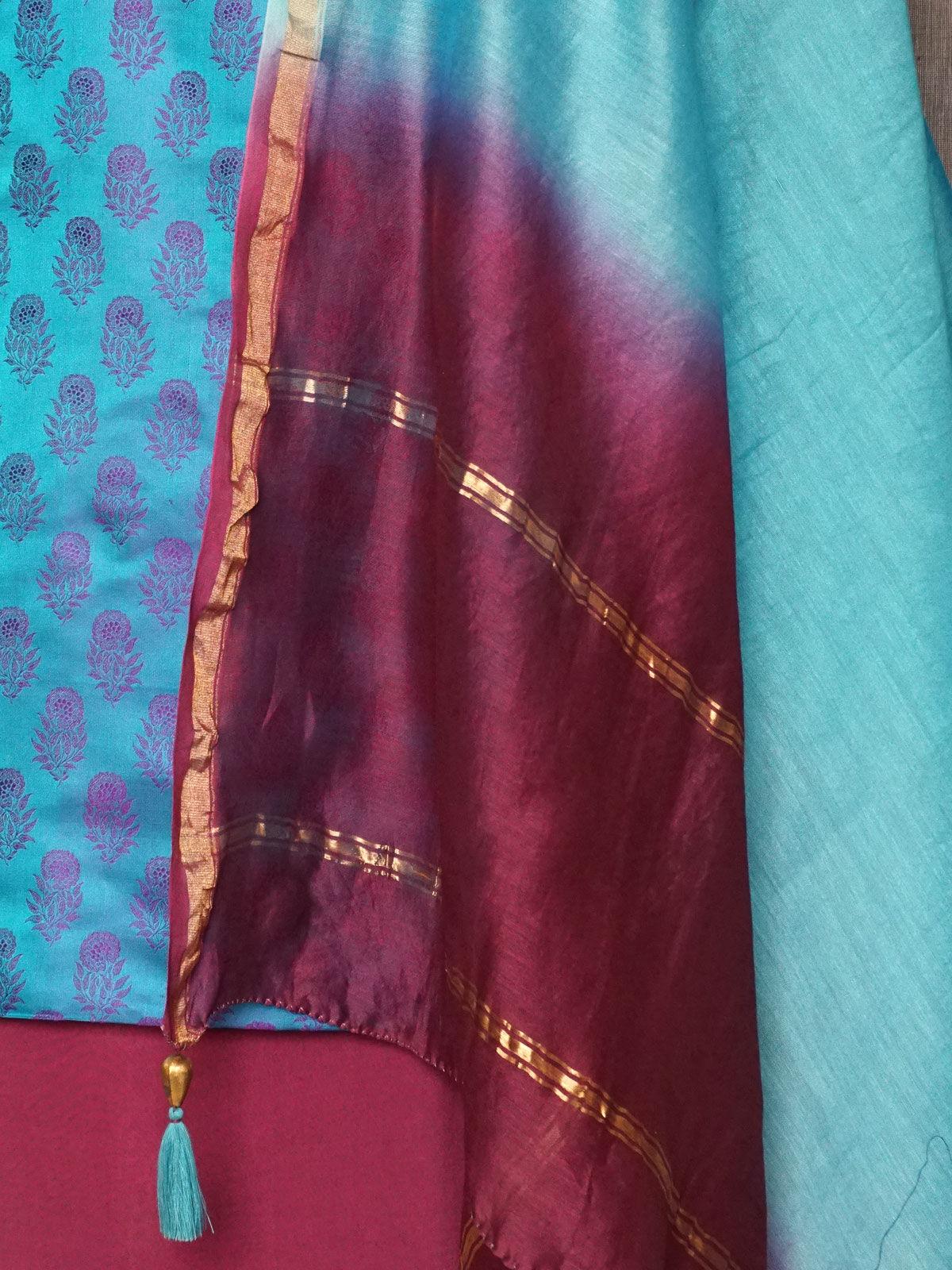 Sky blue maroon tanchoi silk dress material with chanderi dupatta