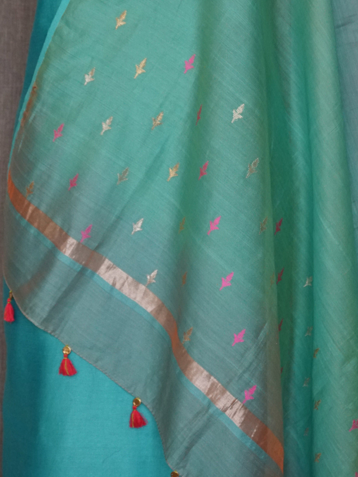 Turquoise  chanderi dress material with  chanderi woven zari  dupatta