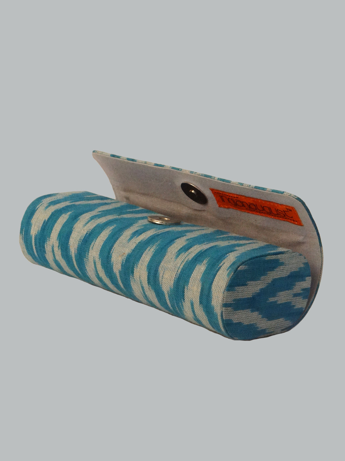 Blue ikat cotton goggle case